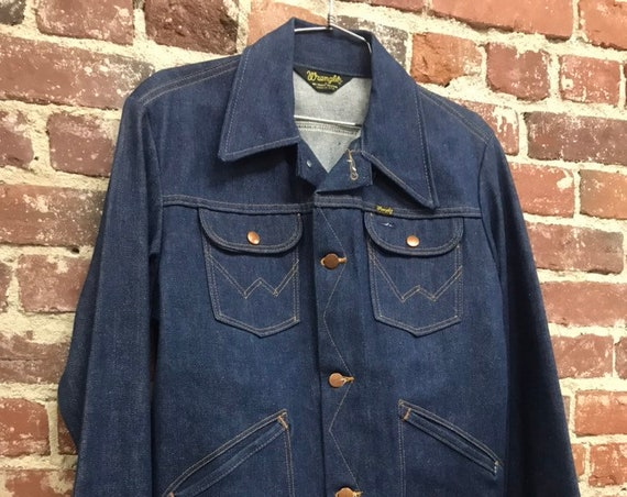 "70s Deadstock NOS Mens Denim Wrangler Jean Jacket 38"" Chest"