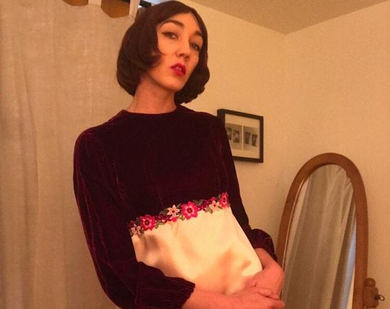 Reserved. Do not buy. Late 60s Velvet and Satin Mini Dress Size Medium
