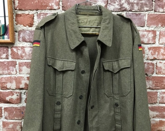 70s Mens Military Wool Shirt Cut Jacket German Flag Vietnam Era John Lennon Size Medium