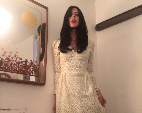 Late 60s Cotton Lace Gown Size Small