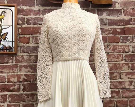 70s Ivory Lace Long Sleeve Pleated Mini Dress