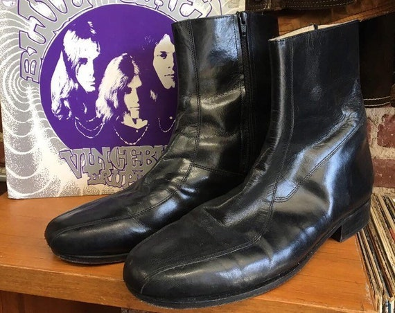 70s Men's Black Leather Zip Up Boots by Nunn Bush Size 12