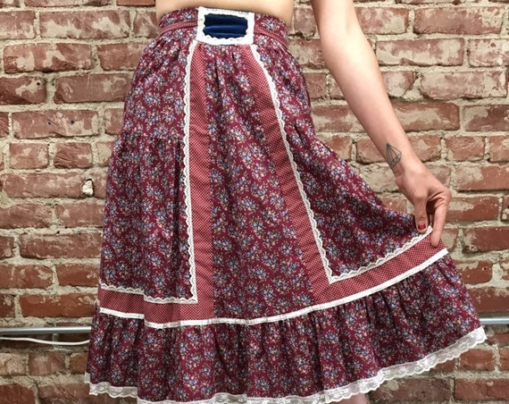70s Gunne Sax Cotton Skirt Size 7 Size Small