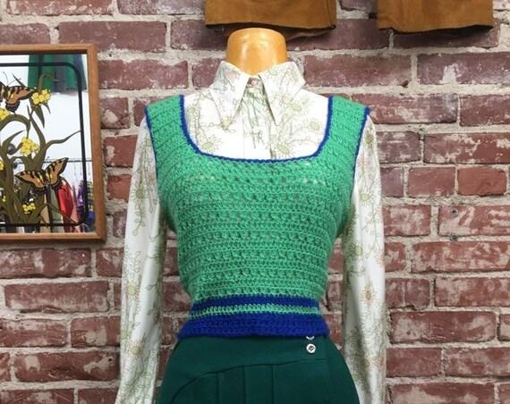 70s Crochet Vest Top Vintage Seventies 1970s Size Medium