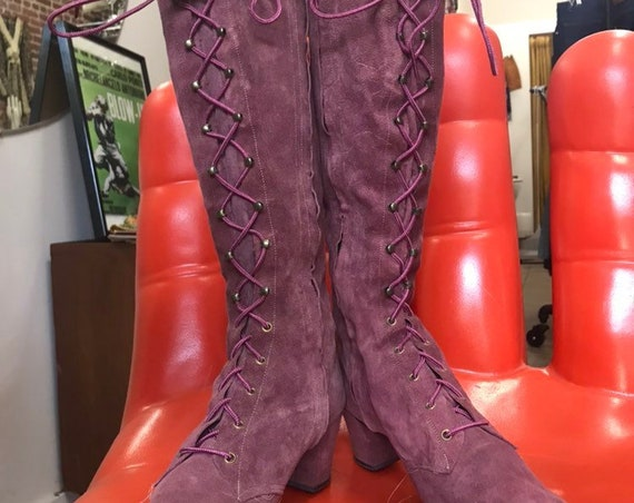 On Layaway. 70s Suede Mod Mauve Lace Up Go Go Boots. Size 8.5 Narrow