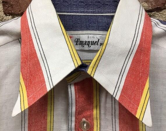 Made in Paris 70s Men's Cotton Mod Striped Button Down Shirt Size Small/Medium