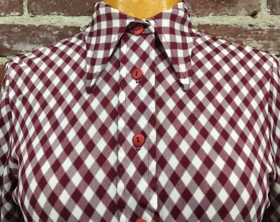 70s Mod Ruby Red Gingham Blouse Size Small Vintage Seventies 1970s Size Small