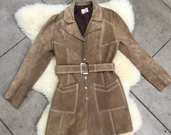 70s Suede Snap Button Belted Jacket size medium