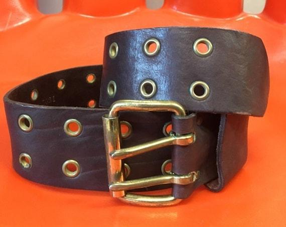 "70s Grommet Belt Chocolate Brown Seventies 1970s Vintage 28"" Waist"