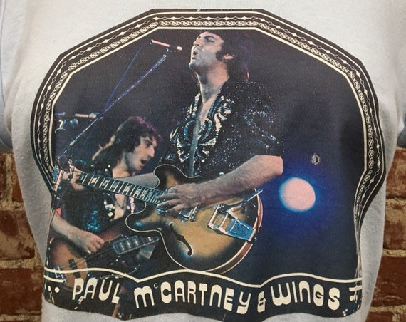 70s Paul McCartney & Wings Circa 1976 Iron on Baby Doll Tee Rare Vintage