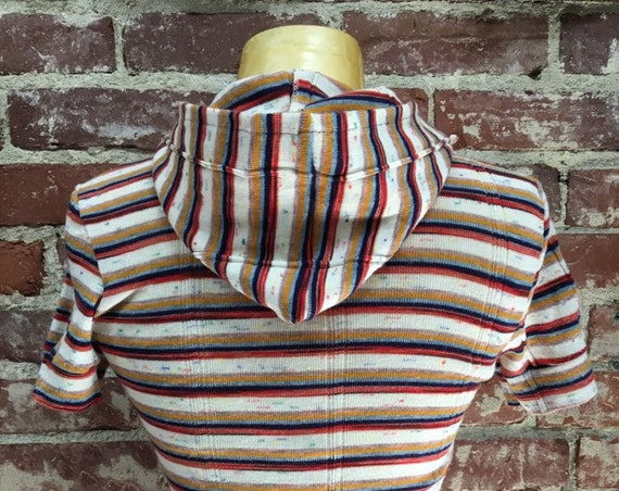 70s Striped Hooded Tee Vintage Seventies 1970s Size Extra Small Petite
