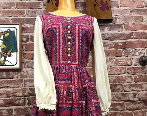 70s Cotton Mandala Psychedelic Poet Sleeve Mini Dress Size Medium