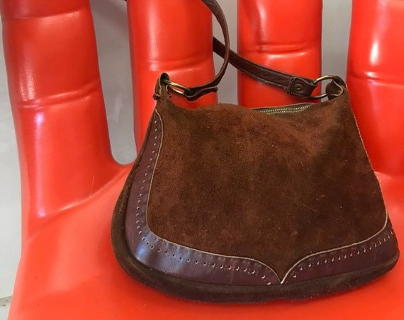 70s Chocolate Suede and Leather Satchel Purse with Brass Hoop Ring Details