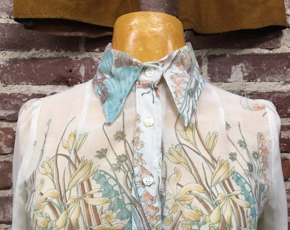 70s Sheer Cotton Blouse Butterflies Flowers Vintage Seventies 1970s Size Small