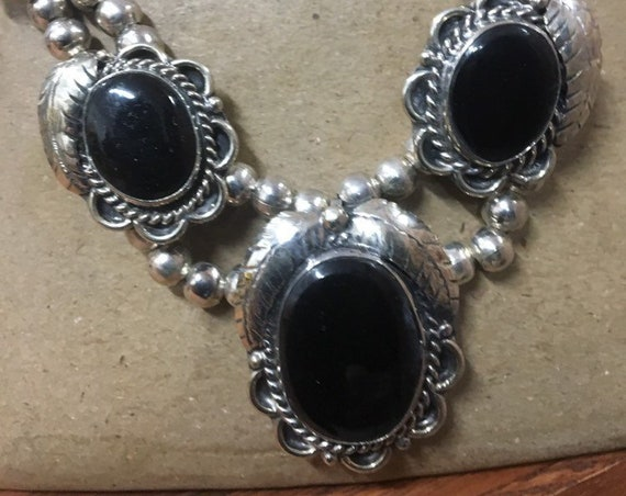 70s Onyx Squash Blossom Necklace
