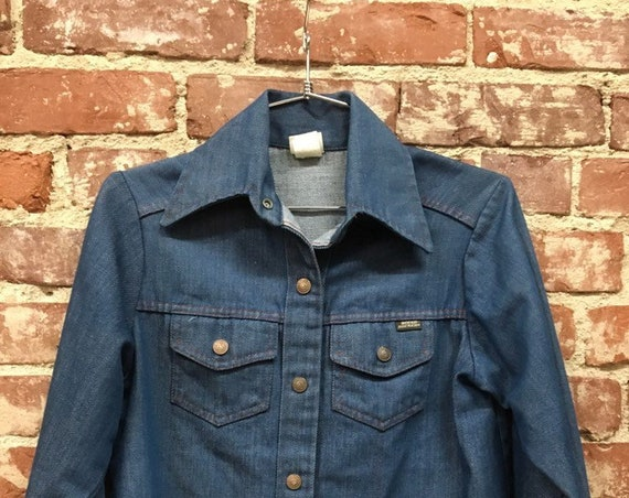 70s Sta Prest Denim Shirt Cut Jacket Size Small by Growing Girl Sears and Robuck