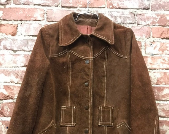 70s Chocolate Suede Exagerrated Collar Snap Button Jacket With Top Stich Detail