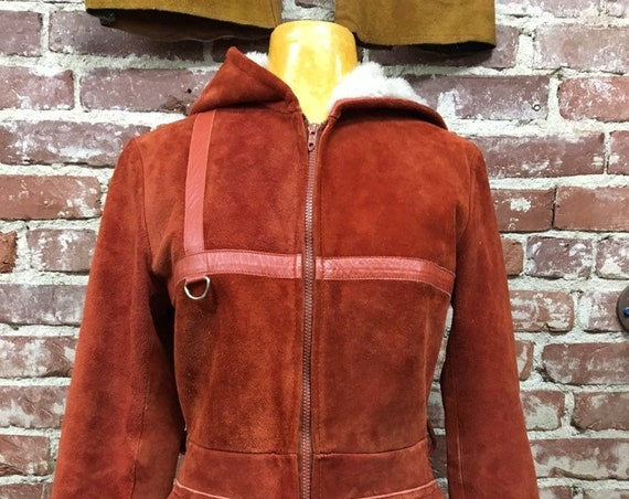 70s Burnt Orange Suede Hooded Zip Up Jacket Faux Fur Lined Warm Size Small Vintage Seventies 1970s