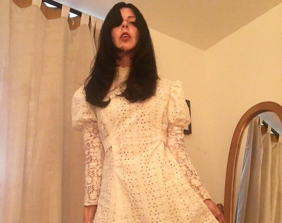 70s Cotton Eyelet White Victorian Gown Size Medium