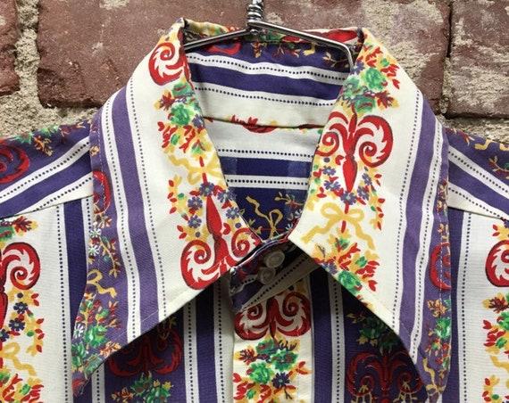 70s Men's Cotton Double Button Collar Psychedelic Button Down Shirt