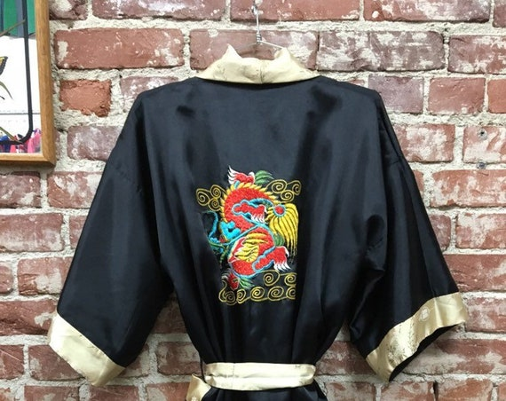 70s Black Satin and Gold Chinese Dragon Robe Loungewear Vintage Seventies 1970s