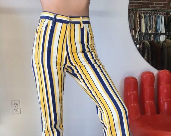 """Vintage Sixties 1960s Men's Dead Stock NOS Striped Mod Jeans 29"""" waist"""