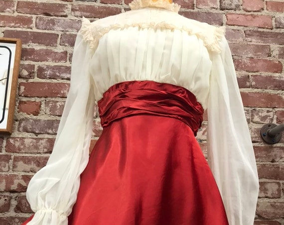 Reserved. Do not buy. 70s Victorian Baby Doll Mini Dress with Poet Sleeves Size Small