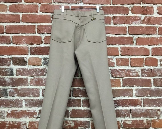 "70s Men's Wrangler Clay Color Strait Leg Slacks 30"" Waist by 36"" Inseam Vintage Seventies 1970s"