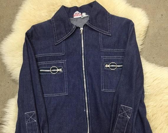 70s Denim Hoop Ring Shirt Cut Jacket Size Medium