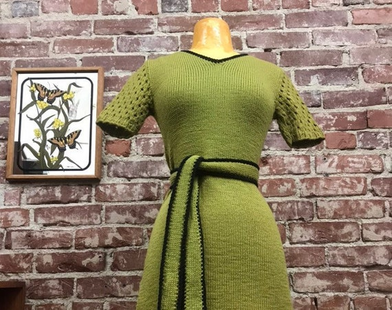 70s Chartreuse Knit Dress with Peek a Boo Perforated Sleeves and Contrasting Piping