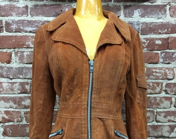 70s Rust Suede Zip Up Jacket Chunky Zipper Size Small Vintage Seventies 1970s