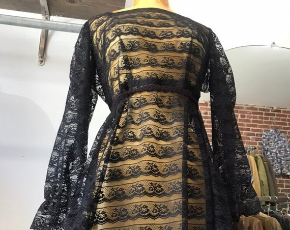 Reserved. 70s Sheer Black Lace Victorian Gown