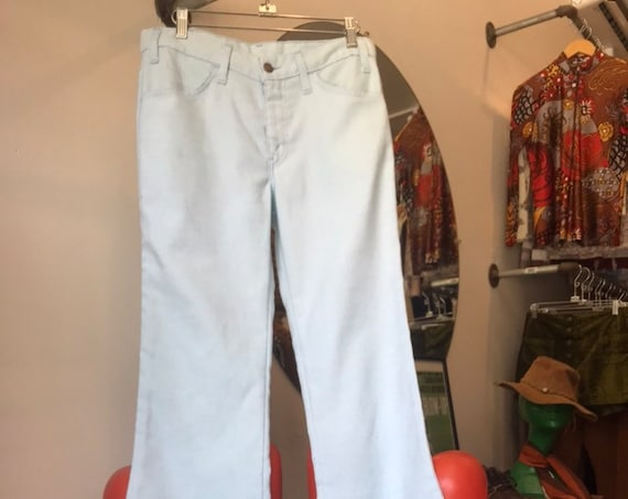 "70s Levi's Flares Light Powder Blue Cotton Sta Prest 30"" waist"