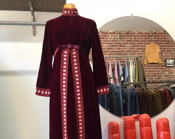 70s Red Velvet Victorian Gown