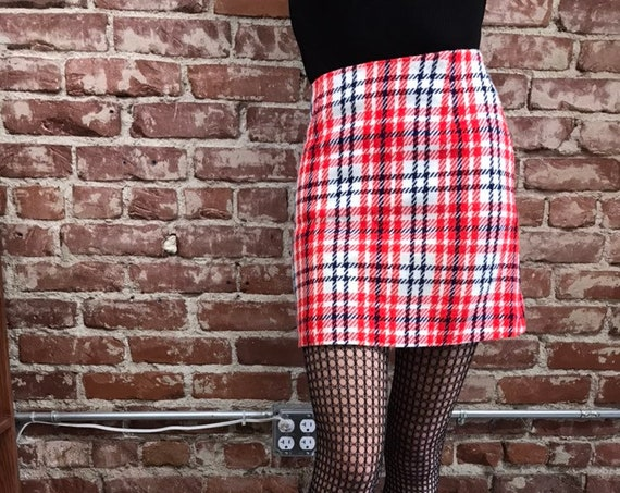 70s Red White and Navy Plaid A Line Mini Skirt