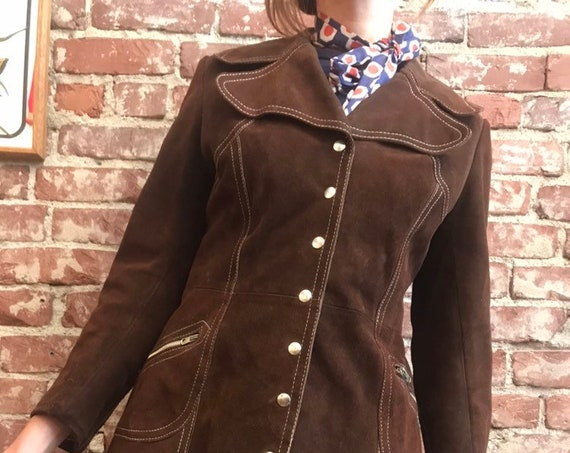 70s Suede Snap Button Exagerrated Collar Chocolate Suede Jacket with Gold Lining