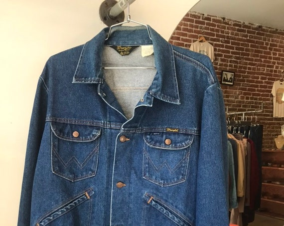 "70s Wrangler Denim Jacket 44"" Chest"