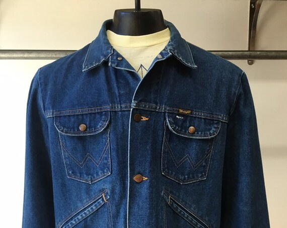 "70s Men's Wrangler Denim Jacket 46"" Chest"