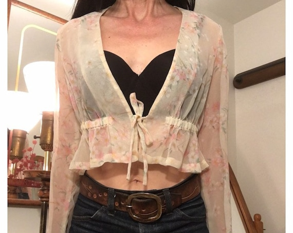 70s Sheer Cropped Floral Gathered Waist Blouse