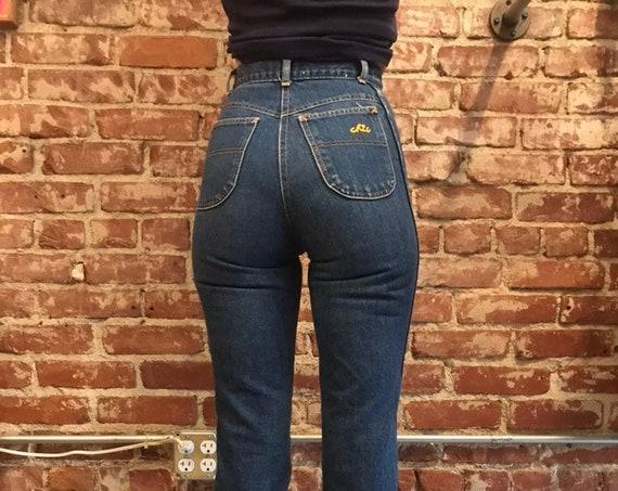 70s Hi Waisted Dark Wash Denim Chic Jeans