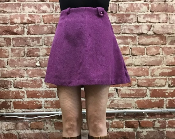 70s Purple A Line Mini Skirt