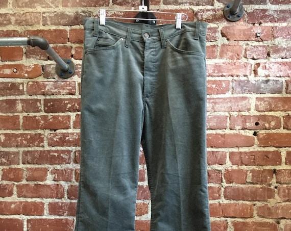 """70s Men's Levi's 517 Dark Gray Corduroy Jeans 34"""" waist by 32"""" inseam"""