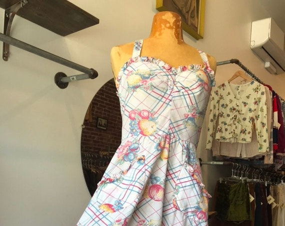 70s Strappy Cotton Sun Dress with Sweetheart Neckline and Pockets