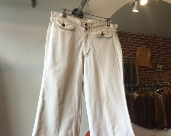 70s Ivory Cotton Canvas Flares by HIS