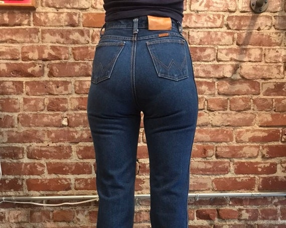70s Wrangler Rare Dark Wash Hi Waisted Denim Jeans