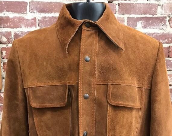 70s Men's Suede Burnt Caramel Shirt Cut Snap Button Jacket