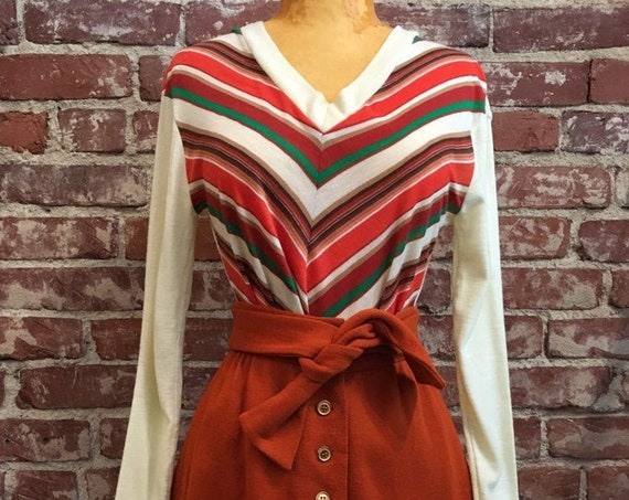 70s Diagonal Striped Long Sleeve Acrylic Top