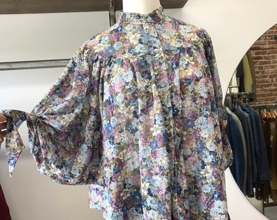 70s Floral Bat Wing Blouse by You Babes