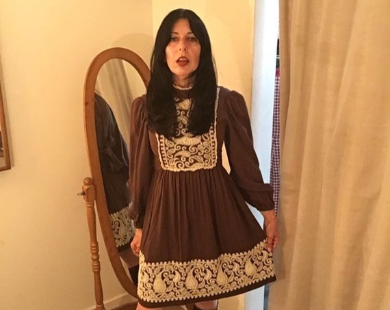 Late 60s Paisley Heavily Embroidered Cotton Poet Sleeve Dress