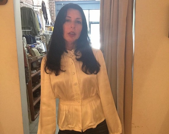 70s Satin Ivory Waist Tie Blouse By Byer California Vintage